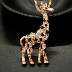 Betsey Johnson Giraffe Necklace Gold Black NEW